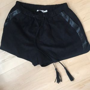 suede black shorts w/ leather detail